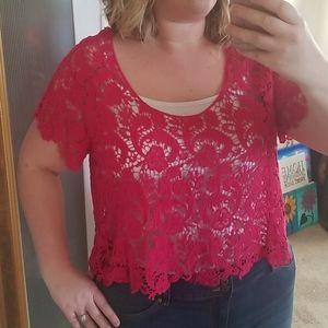 TORRID Pink Short Sleeve Lace Crop Top